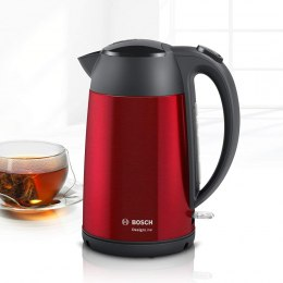 Bosch Kettle DesignLine TWK3P424 Electric, 2400 W, 1.7 L, Stainless steel, 360° rotational base, Red