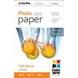 ColorWay High Glossy Photo Paper, 50 Sheets, 10x15, 180 g/m²