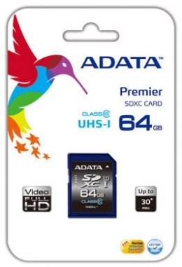 ADATA Premier 64 GB, SDHC, Flash memory class 10, No