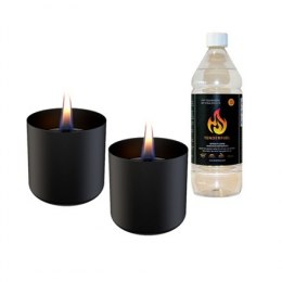 Tenderflame Gift Set, 2 Tabletop burners + 0,5 L fuel, Lilly 8 cm Black