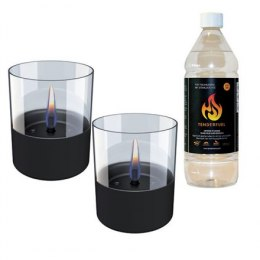 Tenderflame Gift Set, 2 Tabletop burners + 0,7 L fuel, Lilly 10 cm Black