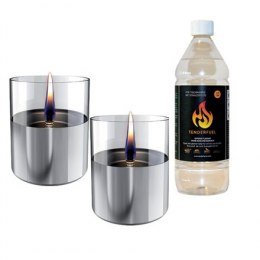 Tenderflame Gift Set, 2 Tabletop burners + 0,7 L fuel, Lilly 10 cm Silver