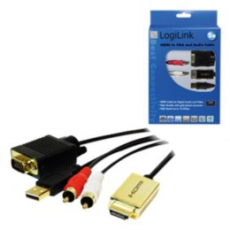 2m HDMI to VGA with Audio Cable, black Logilink
