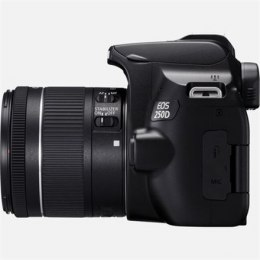 "Canon EOS 250D + 18-55mm IS STM SLR Camera Kit, Megapixel 24.1 MP, ISO 25600, Display diagonal 3.0 "", Wi-Fi, Video recording, Bl"