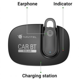 Navitel Multifunctional Bluetooth Headset Solar Car BT Hands free device, Bluetooth, Black, Recharge indicator