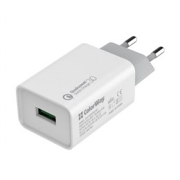 ColorWay AC Charger 1xUSB Quick Charge White, 1 m, 100-240 V, 18 W