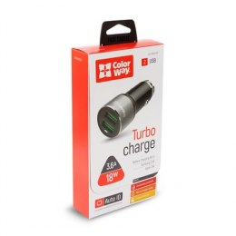 ColorWay Car Charger 2xUSB Auto ID Black, 12-24 V, 18 W