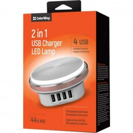 ColorWay USB charger LED Color Touch Sensor USB Charger 12 adjustable 0.2W LEDs, White, 5 V, 4.4 A