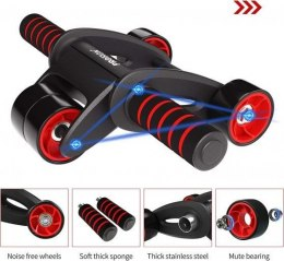 PROIRON Ab Abdominal Roller Whee Black/Red, Stainless-steel bar / Foam handles, Ab roller + Mat