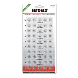 Arcas AG Set (10xAG1, 15xAG3, 10xAG4, 10xAG10, 5xAG13), Alkaline Button Cell, 50 pc(s)