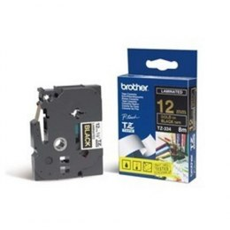 Brother TZe-334 Laminated tape Gold on Black, TZe, 8 m, 1.2 cm