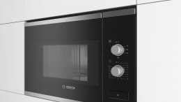 Bosch Microwave Oven BFL520MS0 20 L, Rotary knob, 800 W, Stainless steel/ black, Built-in, Defrost function