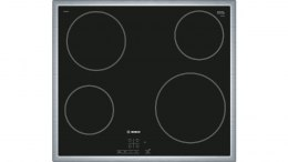 Bosch Hob PKE645B17E Vitroceramic, Number of burners/cooking zones 4, Touch control, Timer, Black, Display